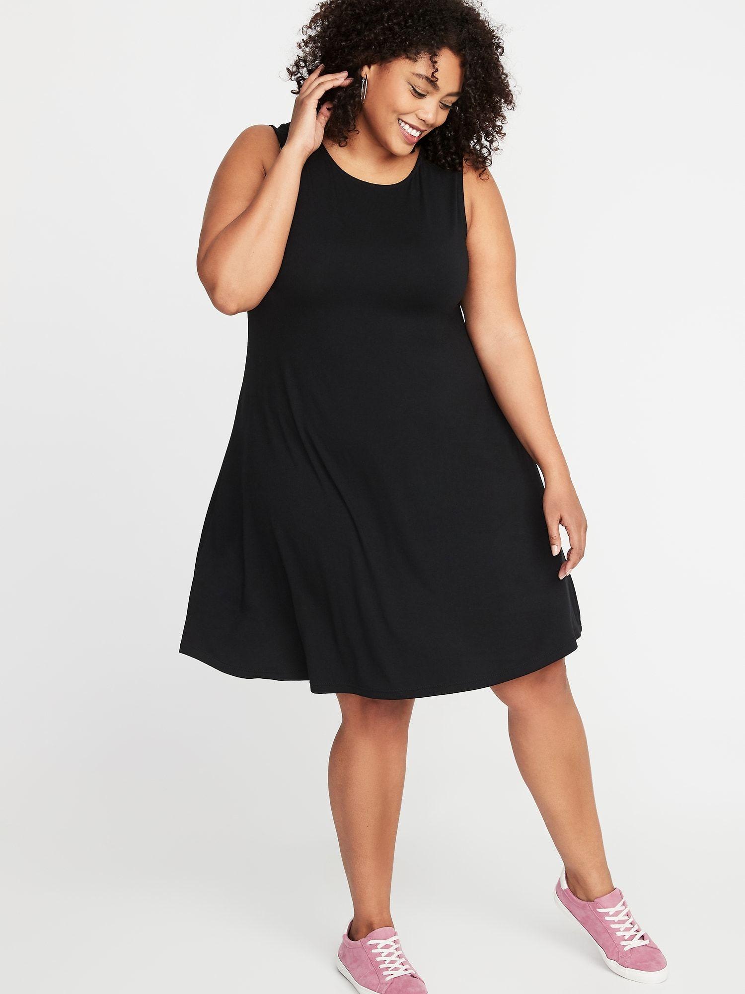 8c2d176de7c55 Sleeveless Plus-Size Jersey Swing Dress in 2019 | /// S T Y L E ...