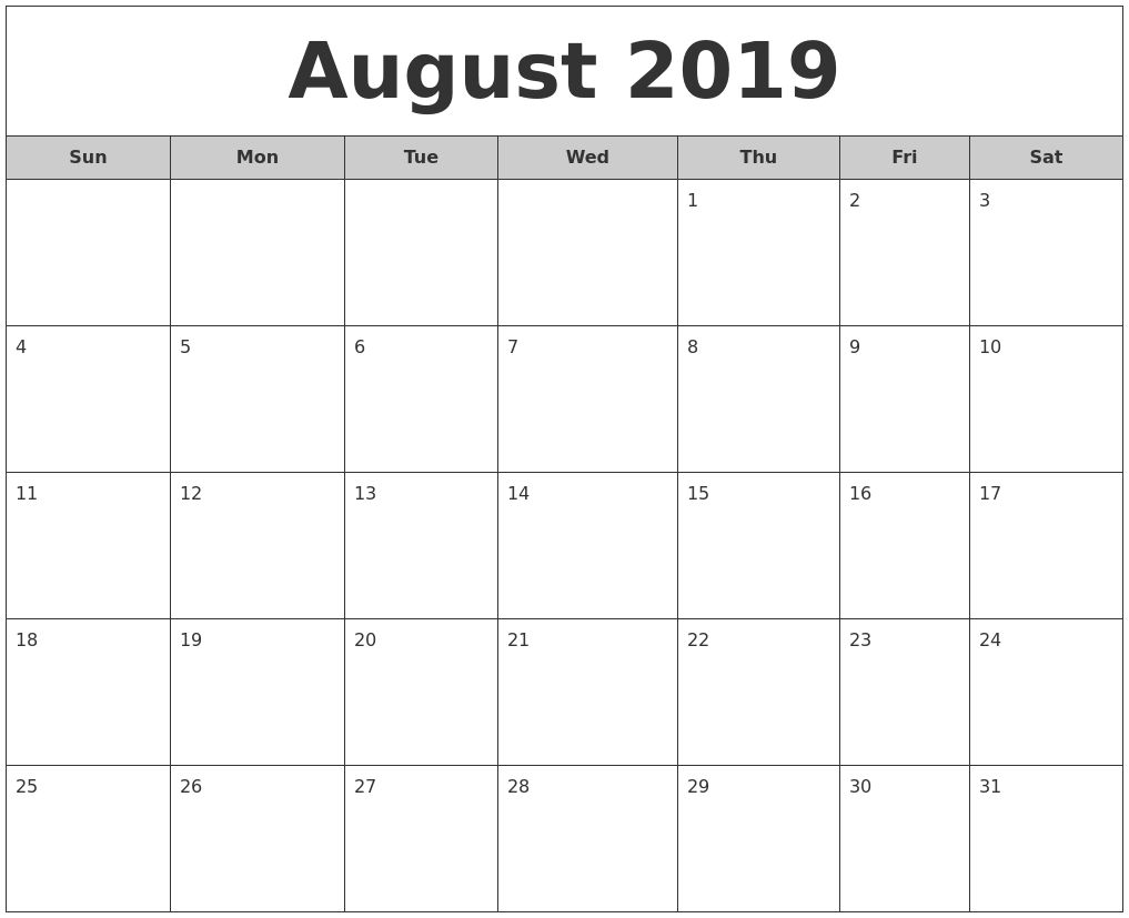 August 2019 Free Monthly Calendar Make It Free Printable