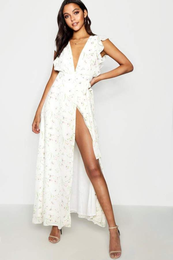 61955d281e36 50% OFF -  30.00 - boohoo Floral Frill Detail Wrap Maxi Dress - From  cool-tone whites to block brights