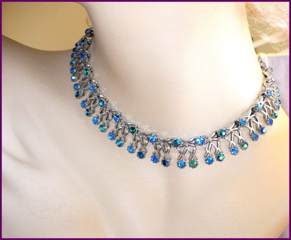 Vintage BlueGreen Aurora Borealis (AB) & Royal Blue Rhinestone Necklace / Choker  by MarlosMarvelousFinds on Etsy, $30.00