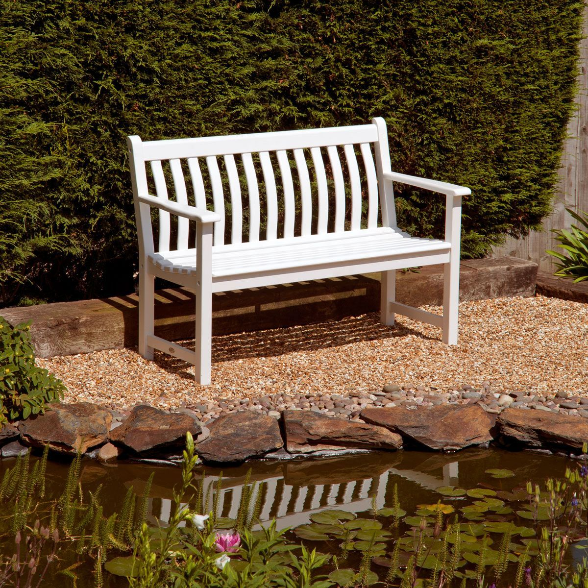 Miraculous Alexander Rose White Broadfield Garden Bench 4Ft Notcutts Forskolin Free Trial Chair Design Images Forskolin Free Trialorg