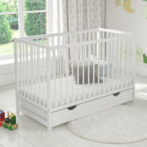 BABY Cot Bed Wood White Walnut Mattress Drawer Converts to Junior Toddler !