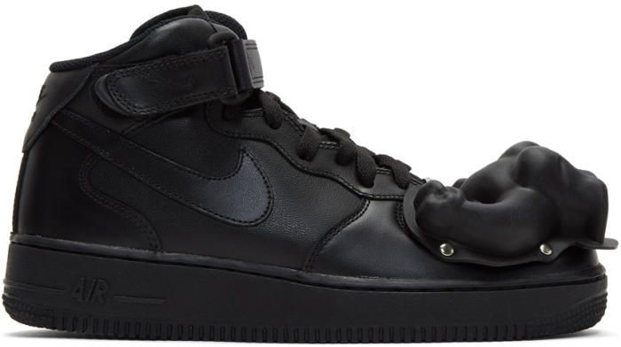 Fendi Black Nike Edition Air Force 1 Mid '07 Sneakers mQthUkEgV