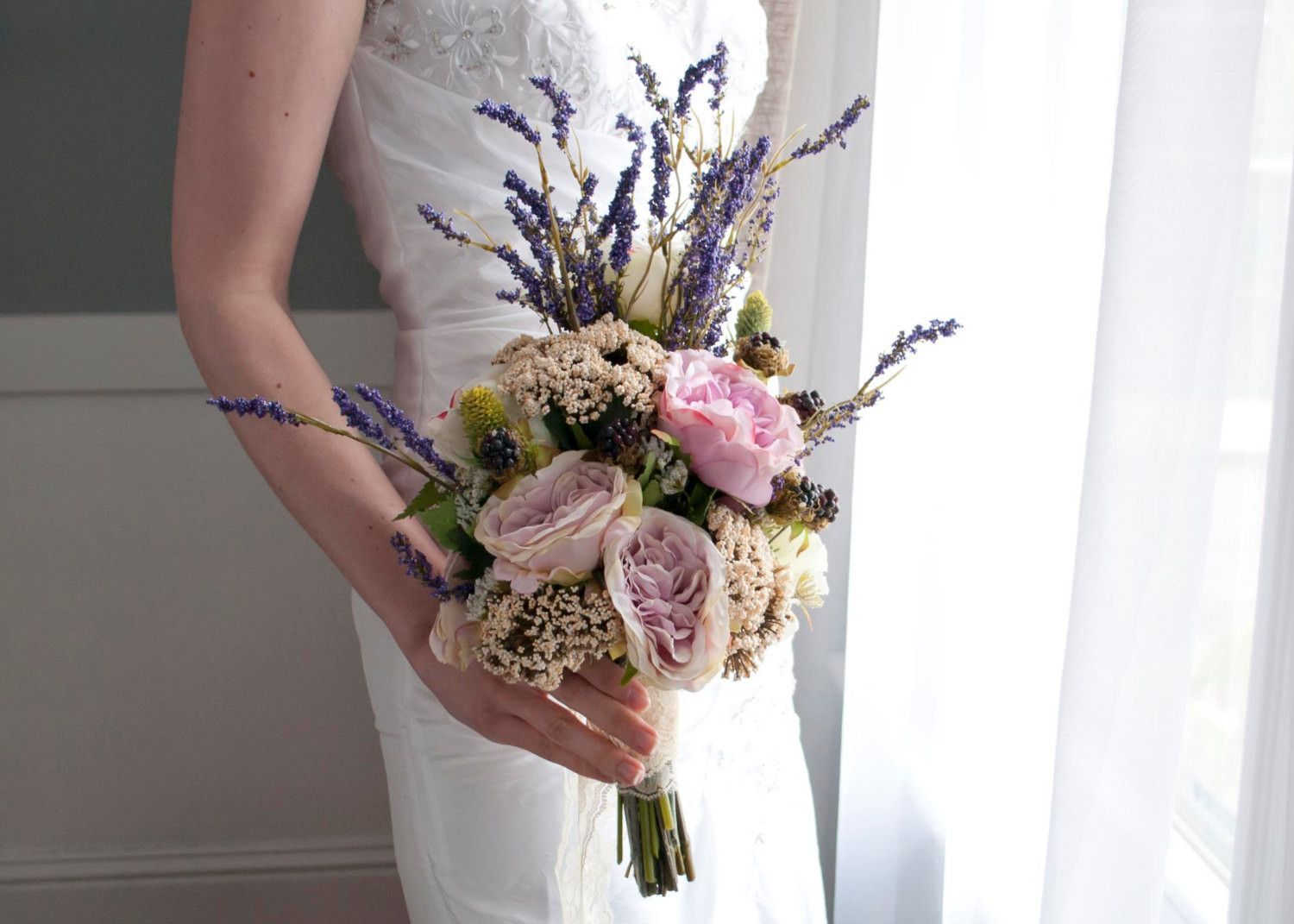 Bohemian Wedding Bouquet Rose And Lavender Wedding Bouquet Bohemian Wedding Bouquet Wedding Flower Arrangements Lavender Wedding Bouquet