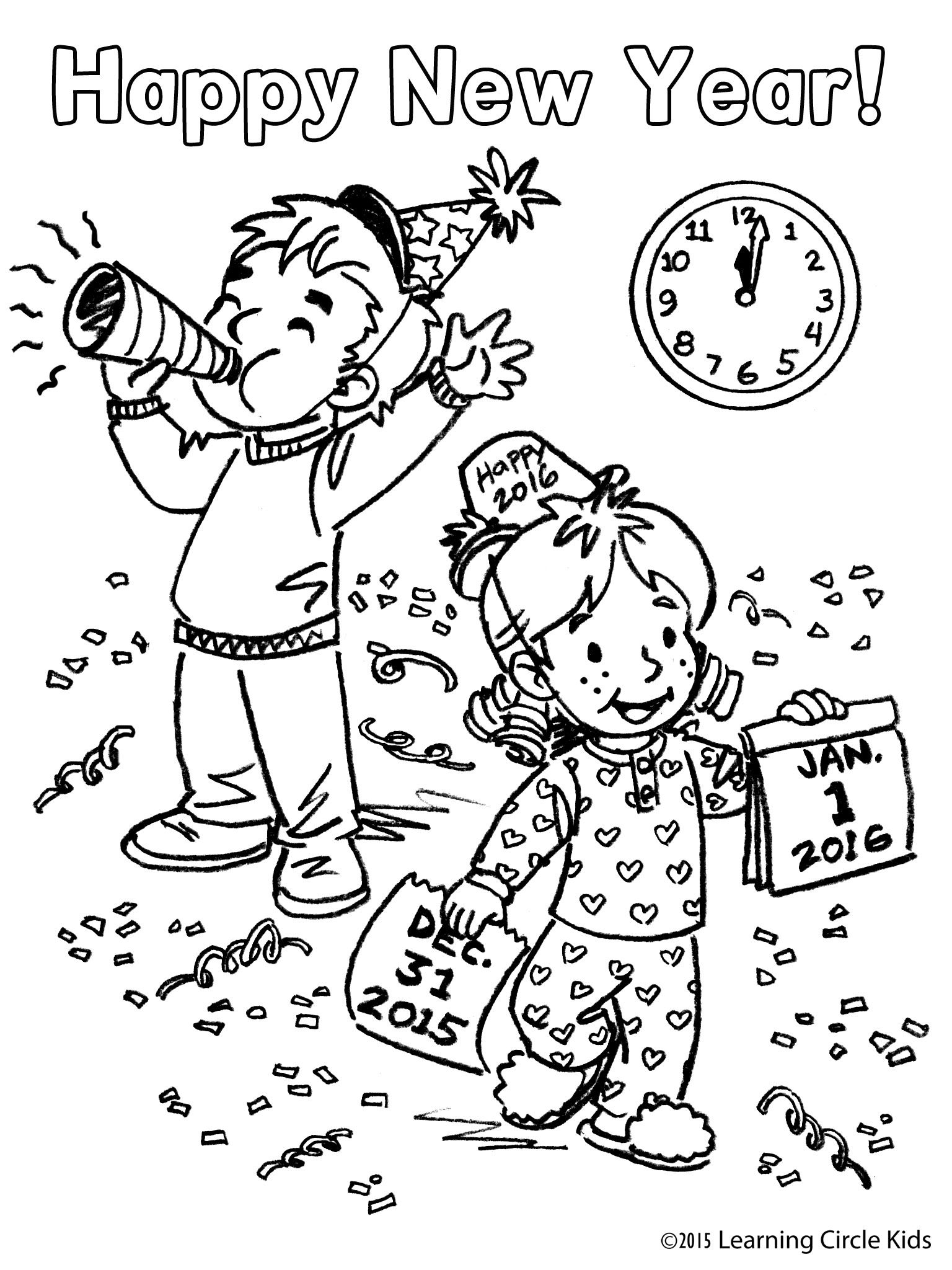 Free coloring page for Kids New Year Party