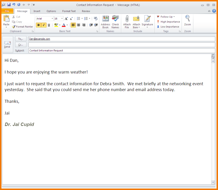 For examples of formal email writing, see Formal Email