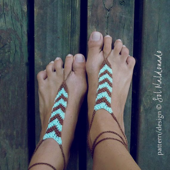 Crochet Barefoot Sandals Pattern Tribe PDF geometric by bySol ...
