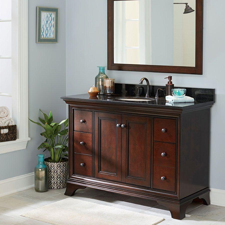 shop allen roth eastcott auburn undermount single sink poplar bathroom vanity with granite top common 49 in x 21 in actual 48 97 in x 21 96 in at
