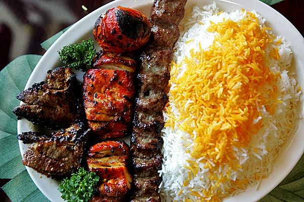 Grilled Lamb Chicken Beef W Saffron Rice Combo Of Heavenly Goodness Persian Food Persian Cuisine Iranian Cuisine