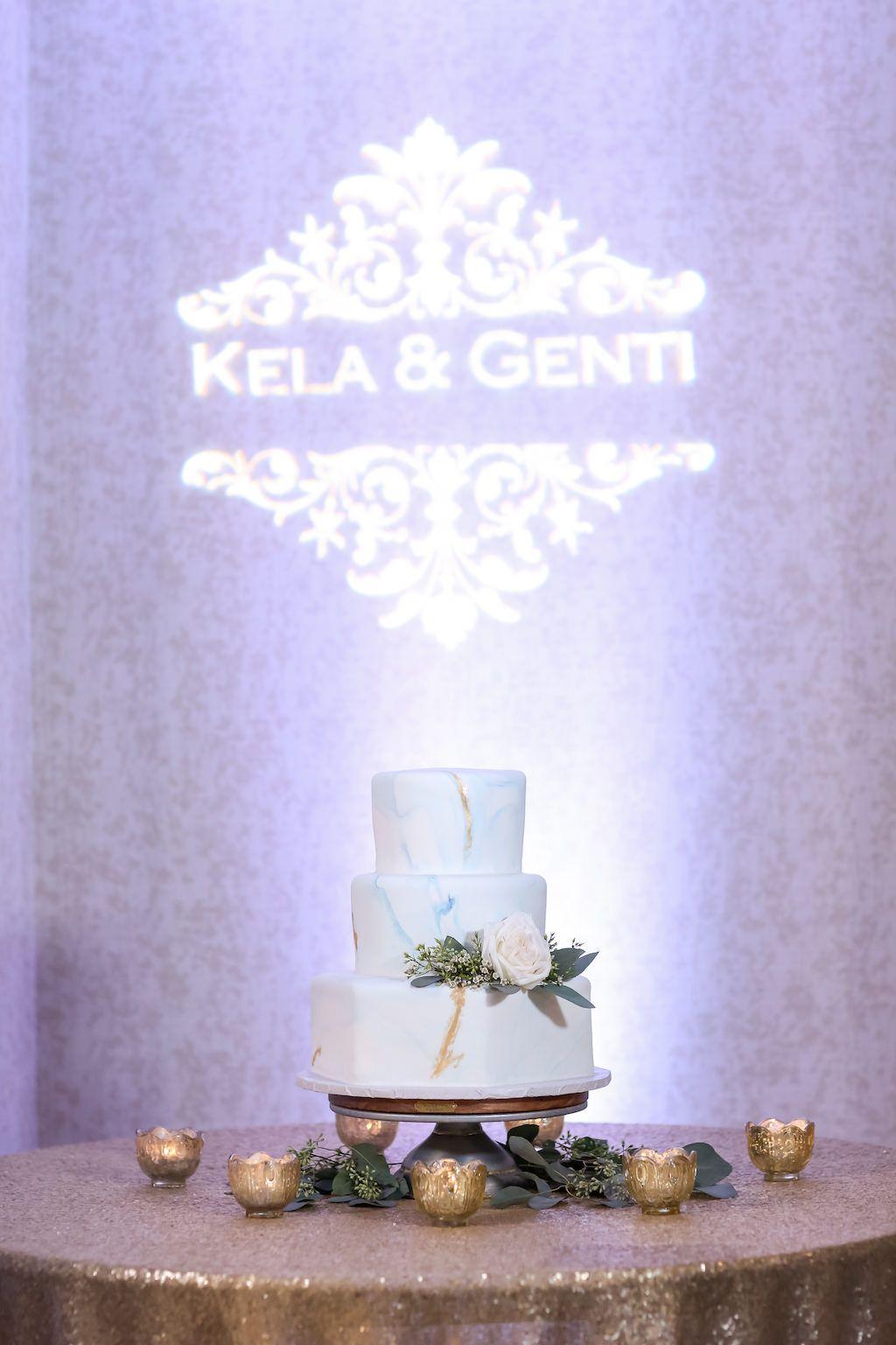 Modern white and gold organic beachfront wedding wedding cake