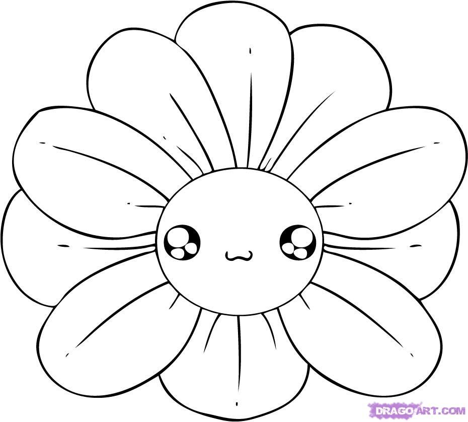 Easy to draw flowers how to draw a chibi flower step 4 for Simple carnation drawing