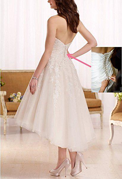 YASIOU Elegant Damen Kurz A Linie Weiß Spitze Vintage ...