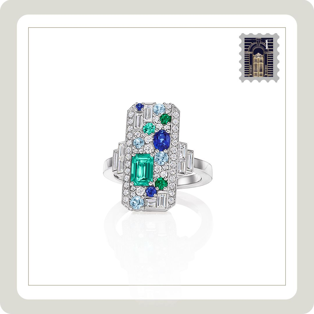 An Enchanting Landscape Of Aquamarines Emeralds Sapphires And Diamonds Evokes The Organic Col Vintage Diamond Rings High Jewelry Design Etsy Engagement Rings