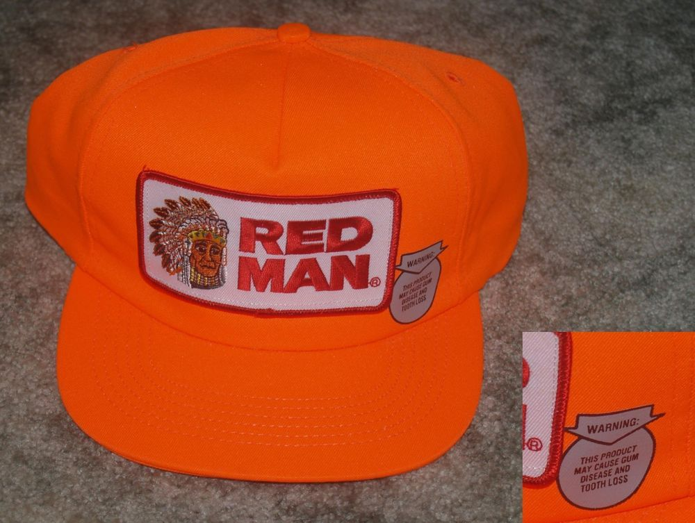 5a181822 Never Used Collectible VINTAGE RED MAN INDIAN CHEWING TOBACCO Cap / Hat  Orange Florescent Hunting #redman #Trucker Free Shipping