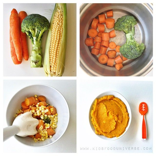 Carrot Corn Broccoli Puree 6m I D Serve This To My Baby At 6 Months You Probably Have These Baby Food Recipes Healthy Baby Food Easy Baby Food Recipes
