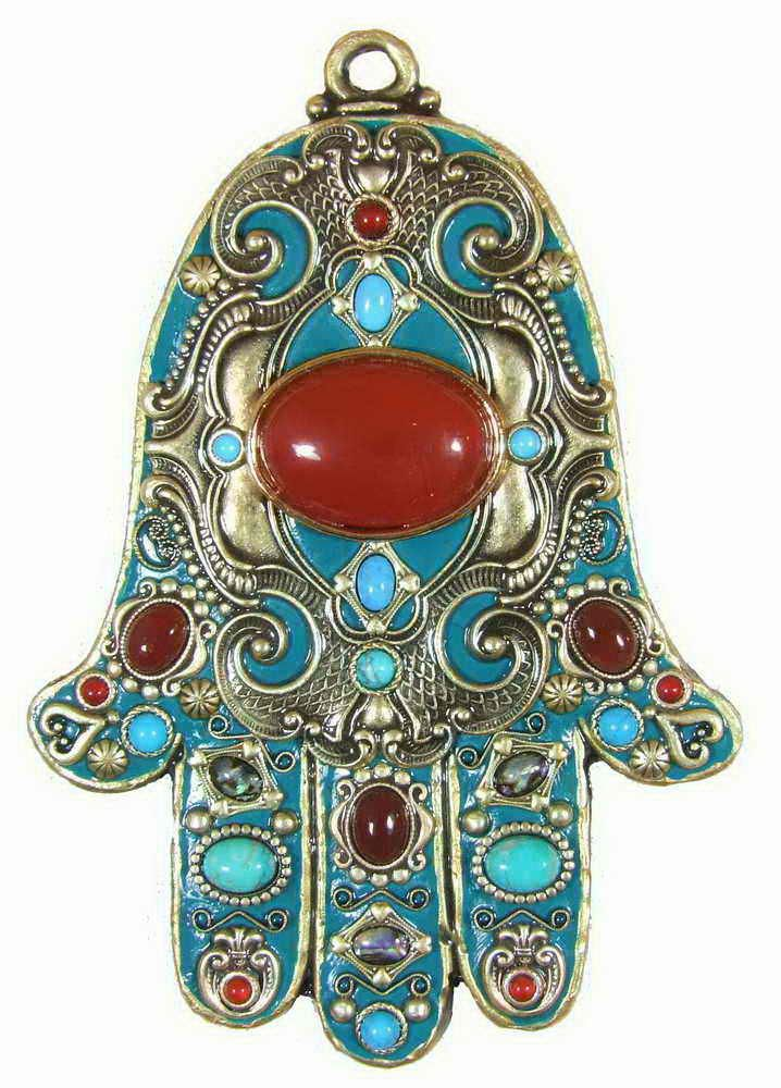 Teal And Red Hamsa Plaque Eye In Hand Against Evil Hand Of Fatima