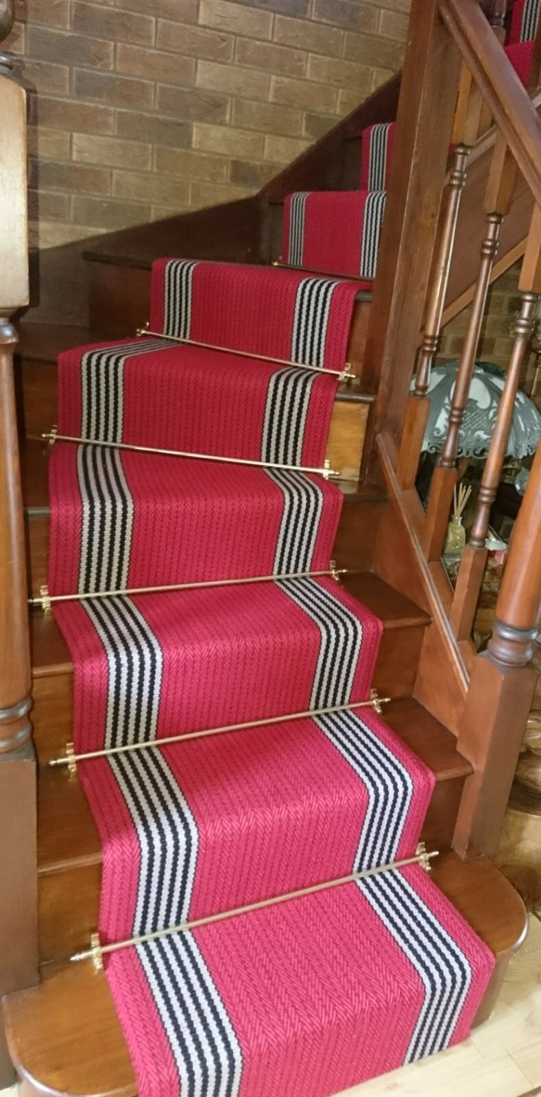 A Red Staircase Carpet Runner That We Fitted In Leicestershire Www Michael John Co Uk Staircase Carpet Runner Wooden Flooring Flooring