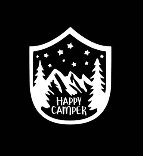 Happy Camper Vinyl Decal Mountain