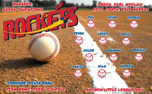 Rockets digitally printed vinyl baseball and little league sports team banner. Made in the USA and shipped fast by Banners USA. http://www.bannersusa.com/art/templates_2/digital/banners/vinyl-baseball-team-banners.php