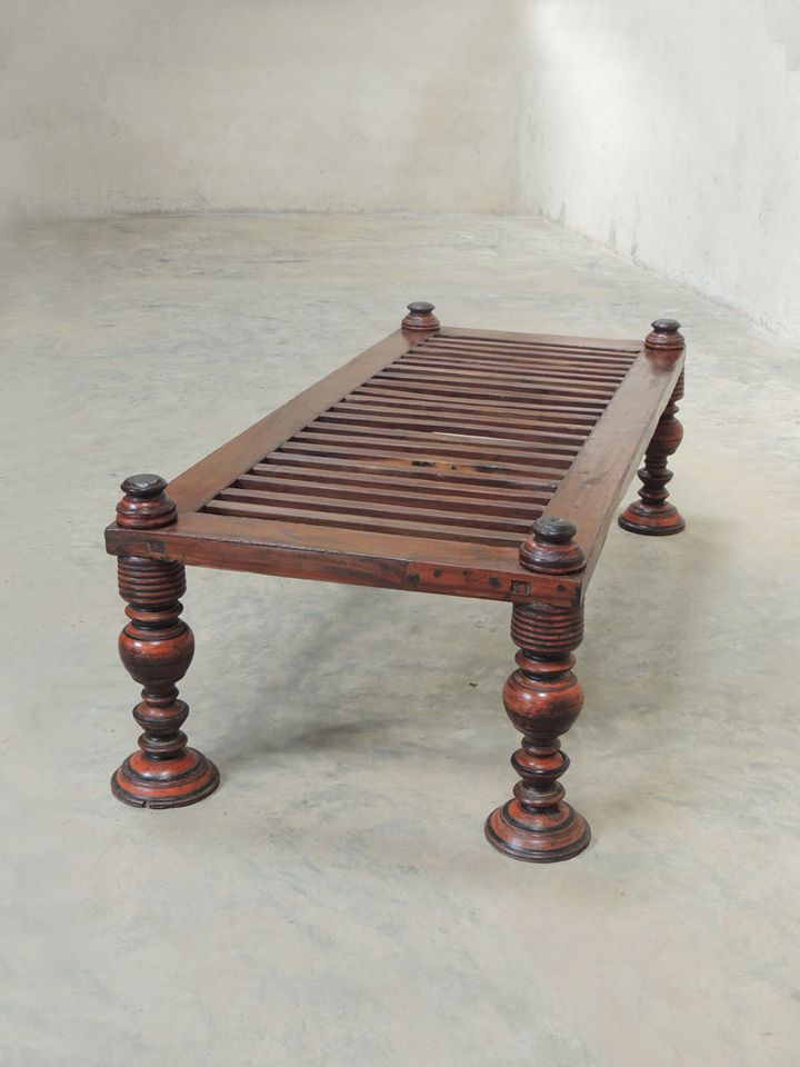 19th Century Hand Made Day Bed From Kerala With Vegetable Dye Paint All Things Wood