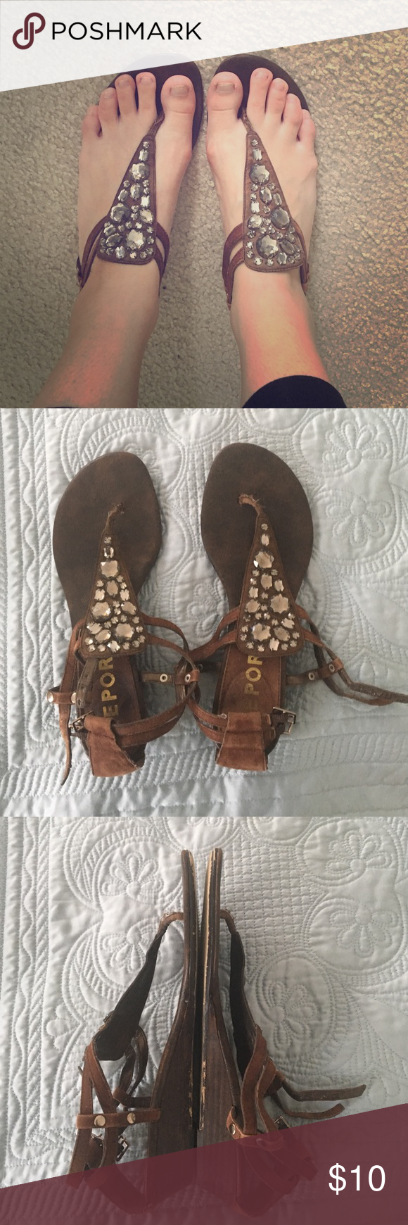Brown Rampage Sandals Brown Rampage Sandals with Rhinestone embellishment and a slight heel. Worn a bit, but still in fairly good condition. Rampage Shoes Sandals