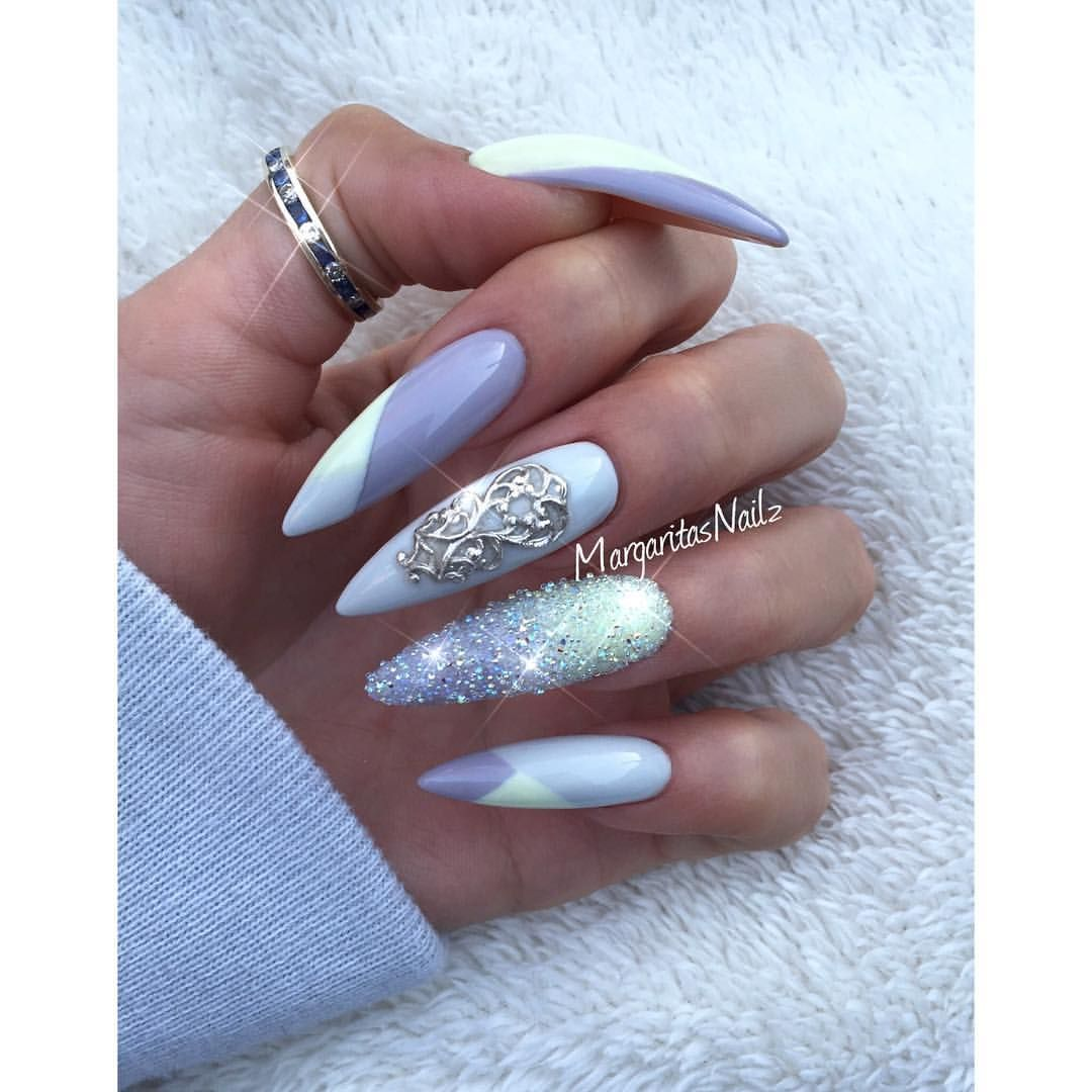 Blue glitter ombr 233 stiletto nails - Spring Stiletto Nails 2016 Nail Art