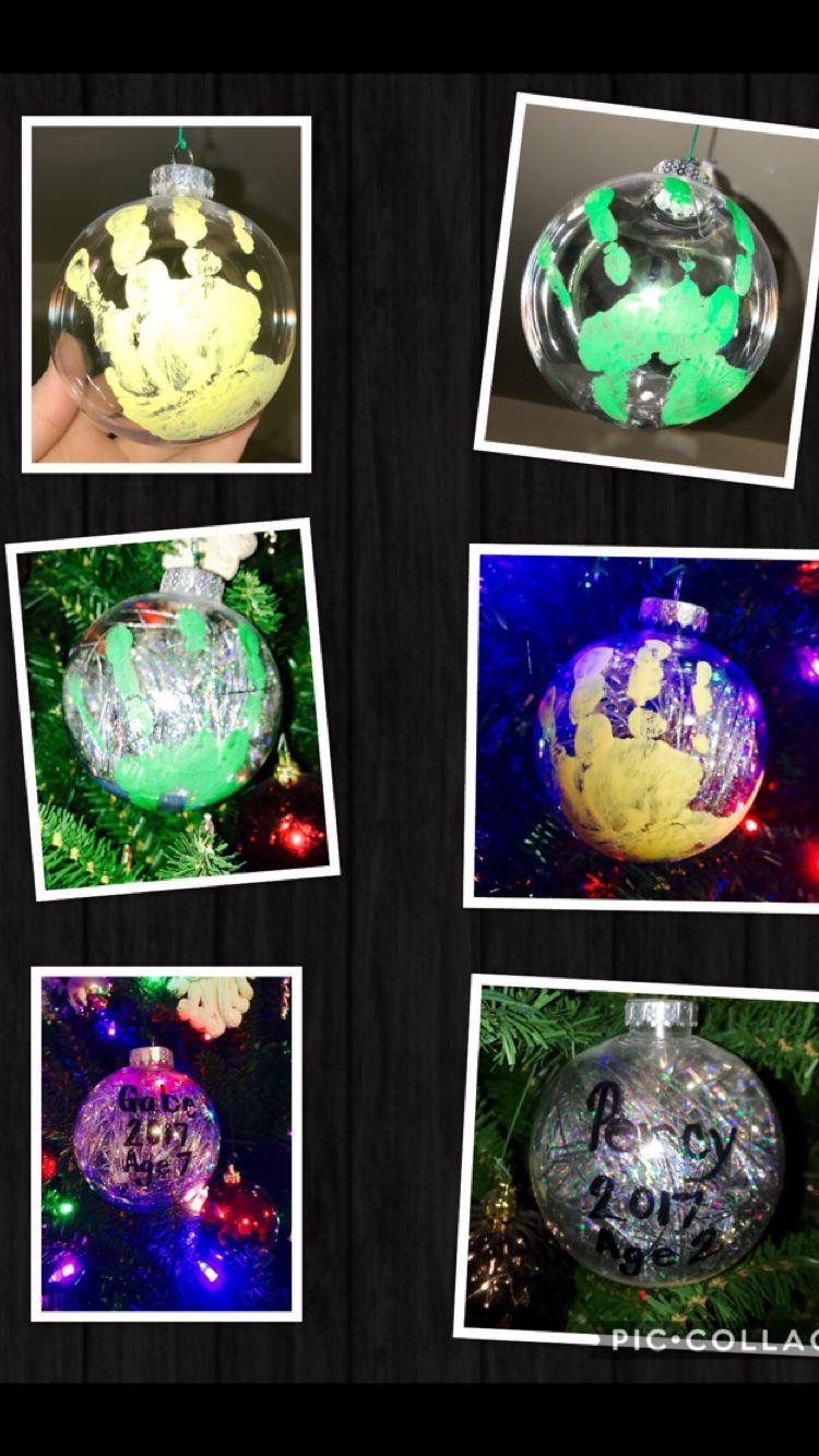 Child Handprint Ornament Materials Clear Plastic Ornament Acrylic Paint Acrylic Clear Coat Clear Plastic Ornaments Christmas Crafts Diy Christmas Ornaments