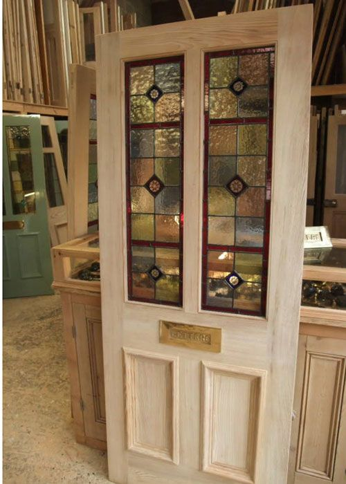 Antique stained glass front door With handpainted glass panels ...