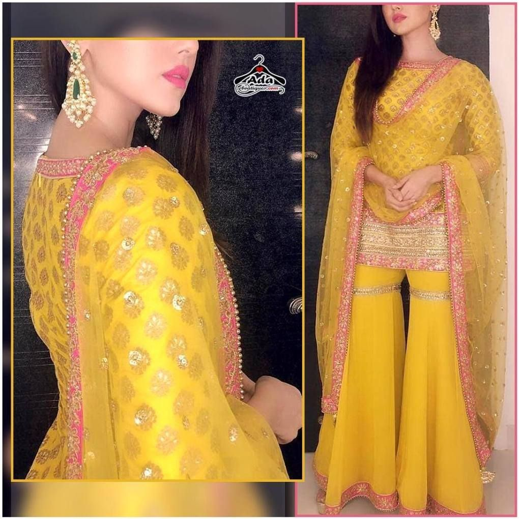 Stylish Sharara Dress  Fabric details:  Kurta- Brocade Banarasee With Gotta (SemiStitched Can be customised to xxl size) Sharara -Georgette With Inner Gotta (Stitched – Free Size) Dupatta – Net With Butta And Gotta Border #shararadesigns