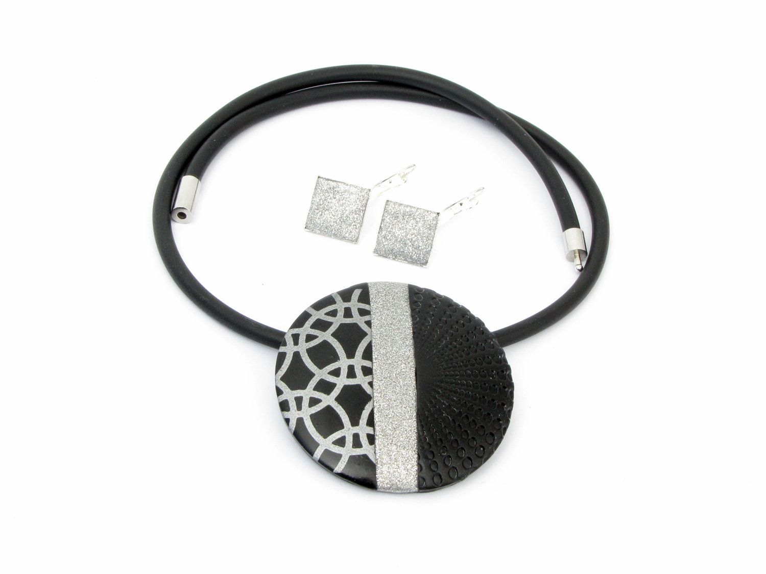 Polymer Clay Necklace In Black And Silver Colour Unique Polymer