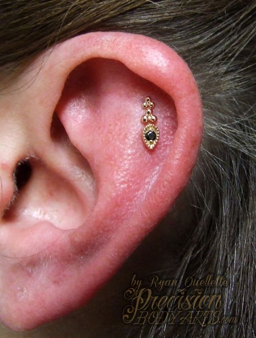 Triple Helix By Ryan Ouellette Precision Body Arts In Nashua Nh Rose Gold Ends By Body Vision Los Angeles Thanks For The Piercing Cute Piercings Piercings