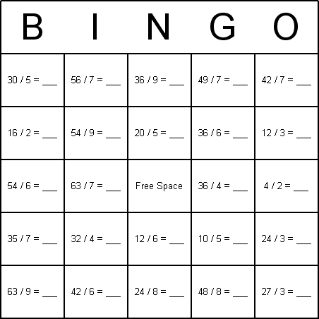 Math Division Bingo Cards. I am wondering if this card could be a ...