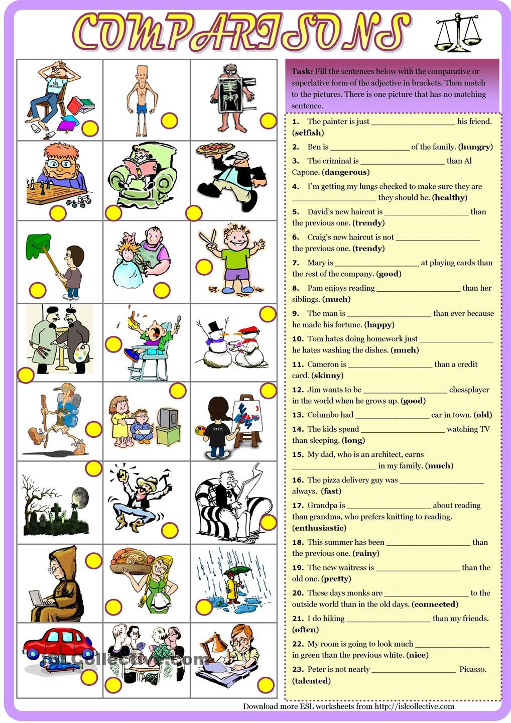 Worksheets Comparative And Superlative Worksheets comparisons comparativesuperlative with key english pinterest key