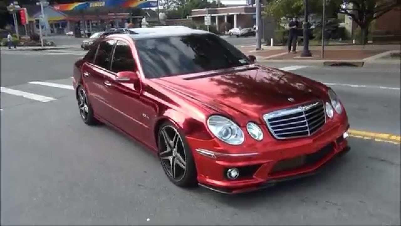 Chrome red wrap on mercedes benz e63 amg wrap for Mercedes benz chrome