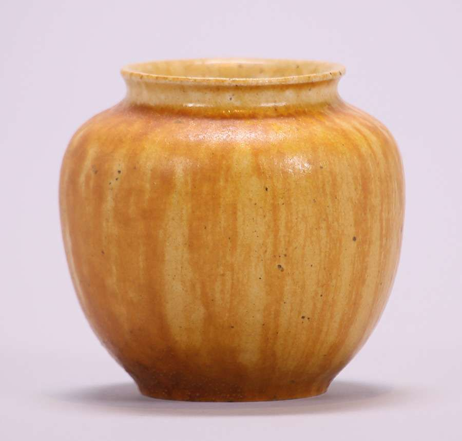 Grueby Pottery Spherical Vase With Burnt Orange Glaze Glazed Over