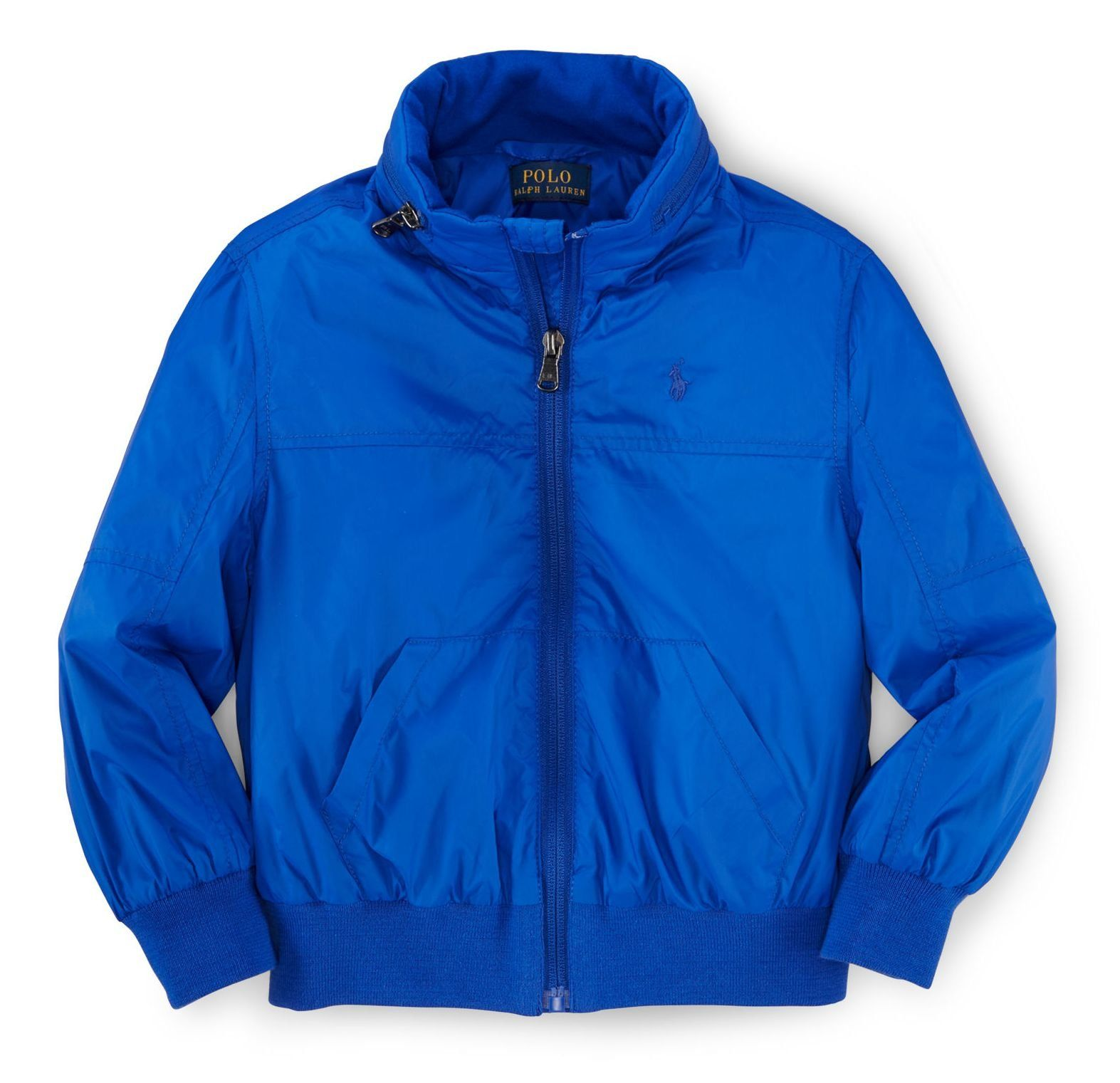Ralph Lauren Polo Boys Pack Away Hooded Windbreaker Jacket (5 ). Machine washable. Signature embroidered pony at the left chest. Full-zip front. Hood packs away into the zip mockneck. Long sleeves with ribbed cuffs. Split kangaroo pocket. Ribbed hem.