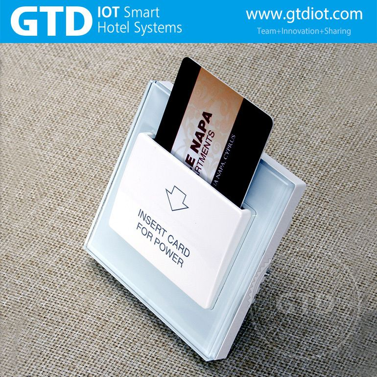 Hotel card key switch tempered glass panel rfid card