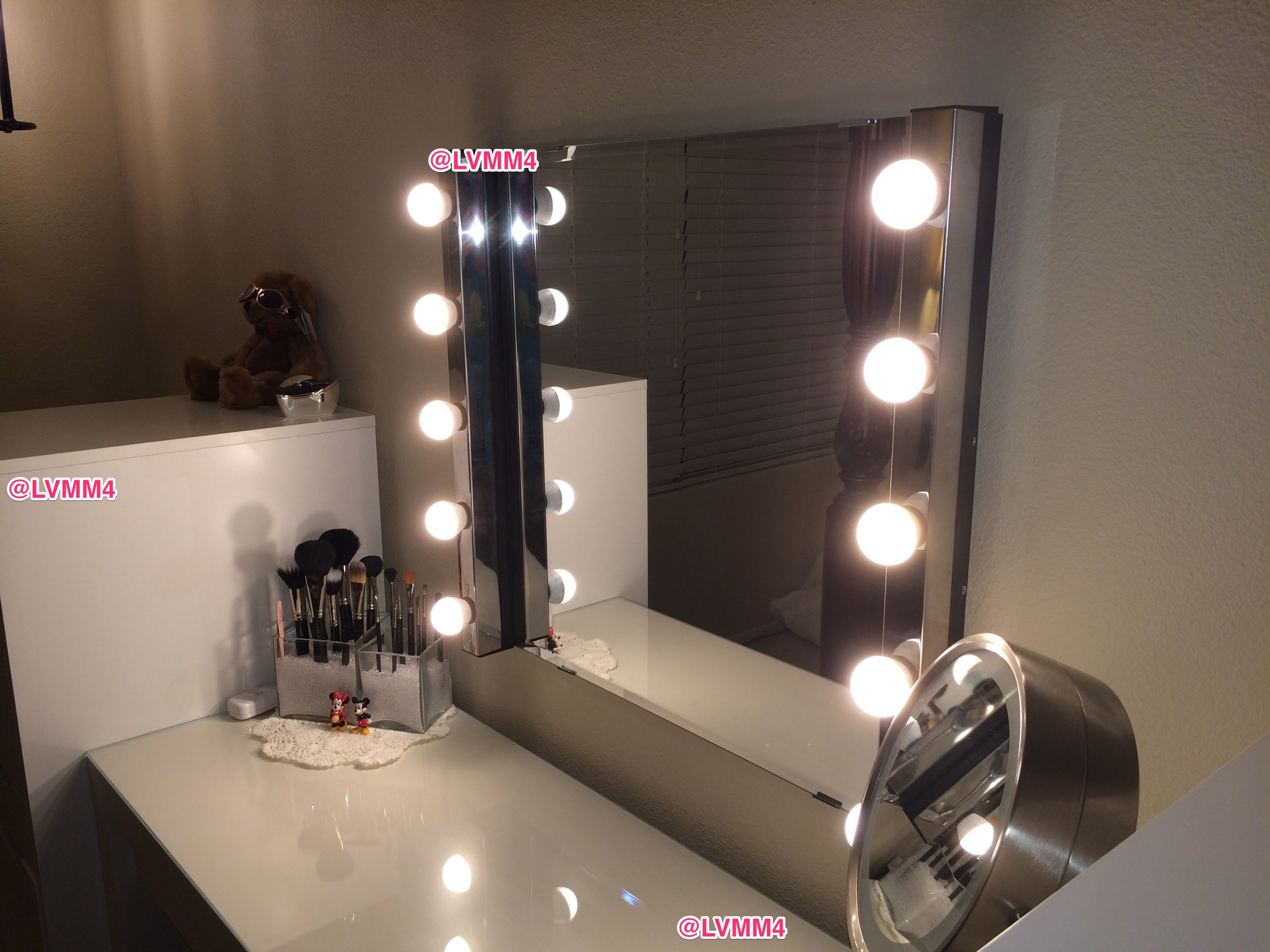My Vanity Finished I Love It D Close Up Pic Ikea Malm Dressing Table 149 Alex 9 Drawe Bedroom Makeup Vanity Makeup Vanity Makeup Vanity Lighting