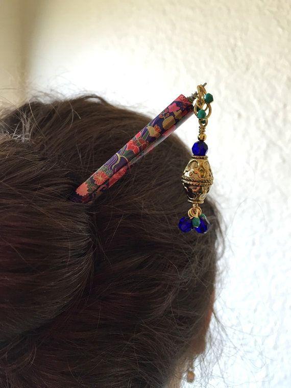 Hair Stick Royal Blue Beaded Chopstick Accessory One Of A Kind Bun Holder