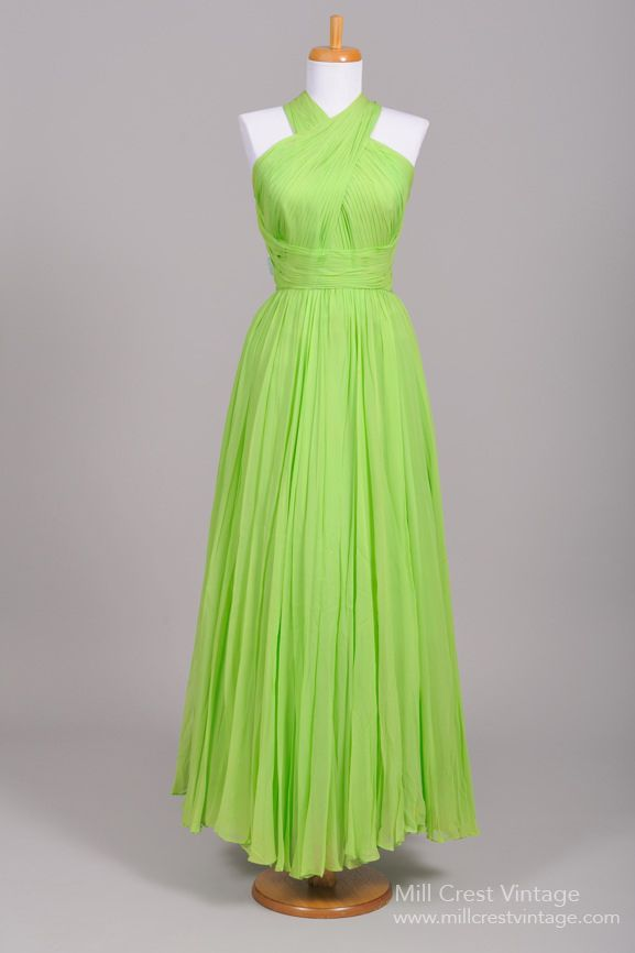 1960 Lime Fortuny Style Vintage Evening Gown : Mill Crest Vintage