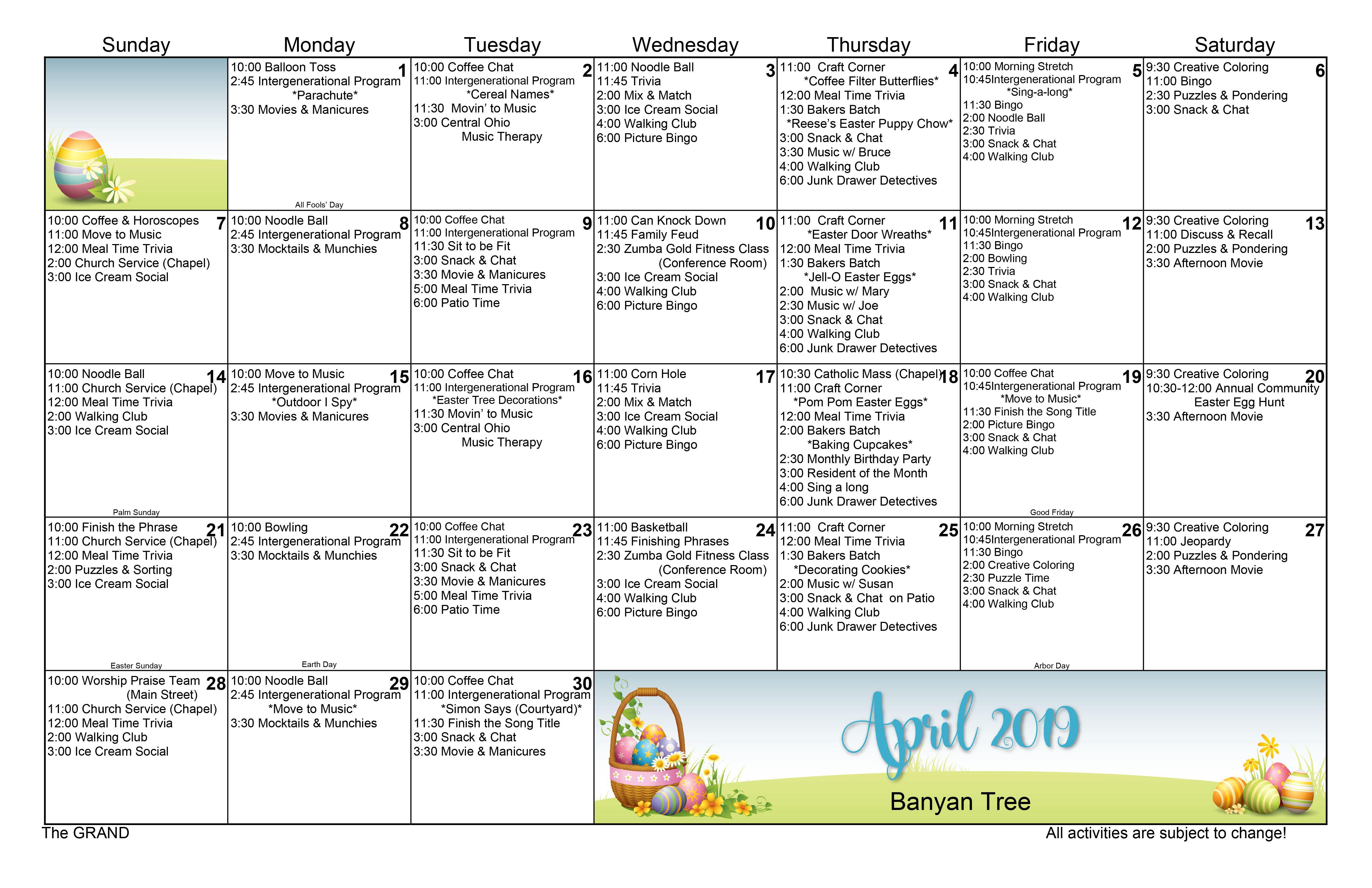 April 2019 Memory Care Activity Calendar Memory care