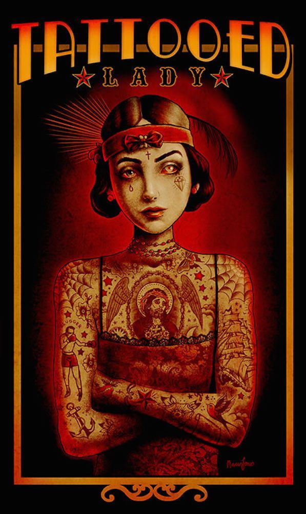 Tattooed Lady By Marcus Jones Circus Vintage Poster Canvas Art Print Fine Arts Posters Giclee Art Print Circus Art