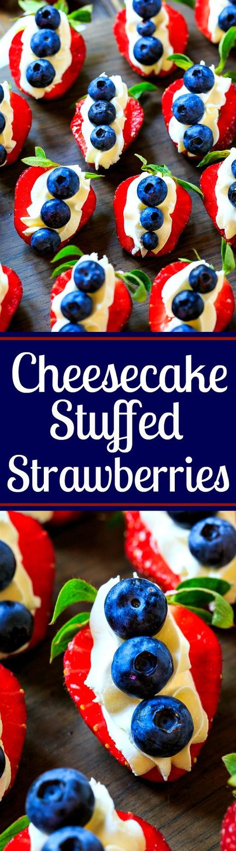 Red, White, and Blue Cheesecake Stuffed Strawberries - a great 4th of July dessert! Easy to make-ahead. : spicysouthernkitchen
