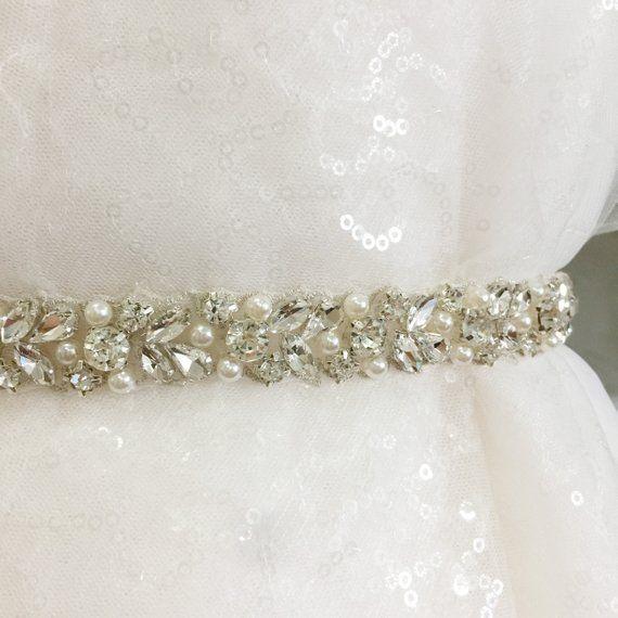 e6212f39cc6f2 1 Yard Thin rhinestone and pearl beaded trim for wedding belt ...