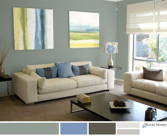 Light sage green living room with blue accents. Relaxing and calm. See  website for