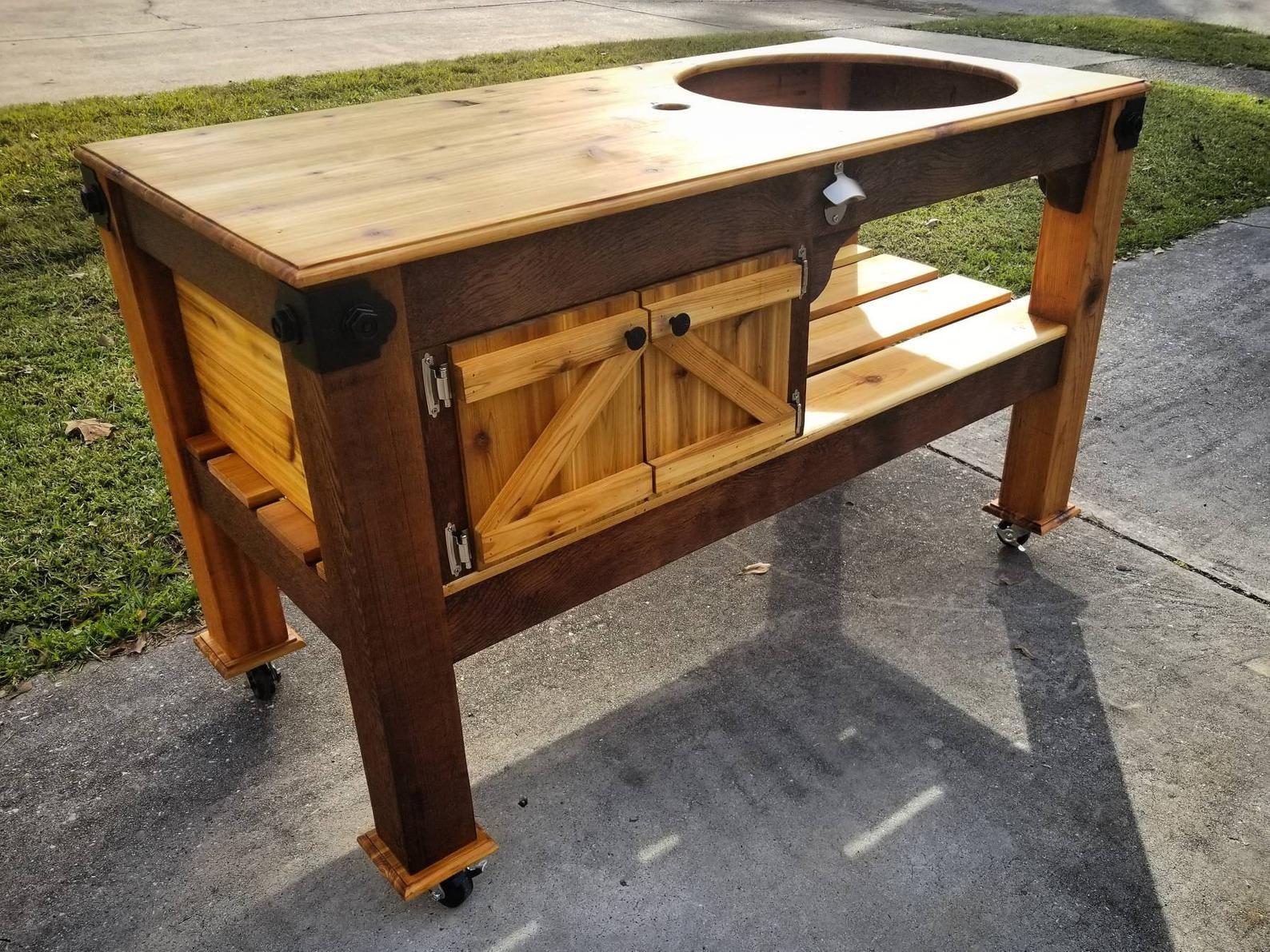Handmade 100 western red cedar grilling table w cubby