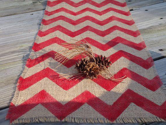 Merveilleux Chevron Burlap Table Runner Cardinal Red Natural By Sweetjanesplan, $22.00