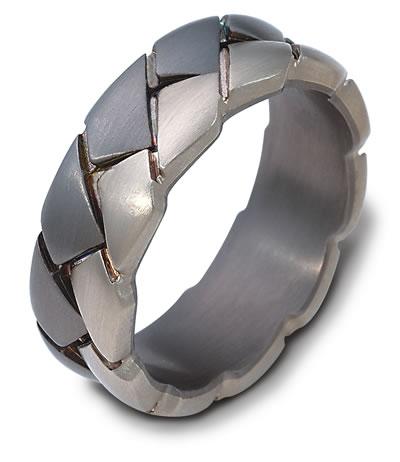 Greenwich Jewelers Dora Braided Metal Mens Wedding Band