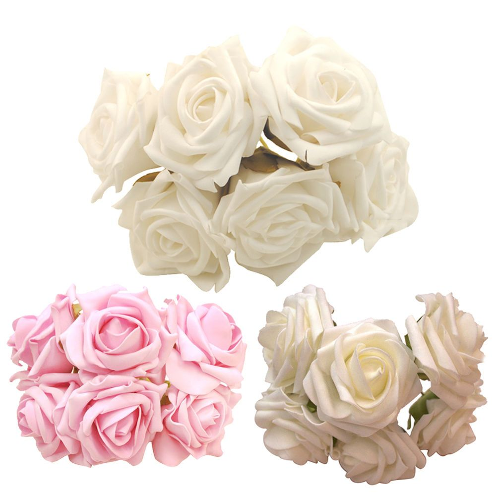 DIY 6 Head Real Touch Latex Rose Flowers For wedding Bouquet Decoration 3 Colors