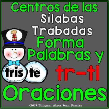 2 Centros De Palabras Y Oraciones Silabas Trabadas Tl Tr Snowman